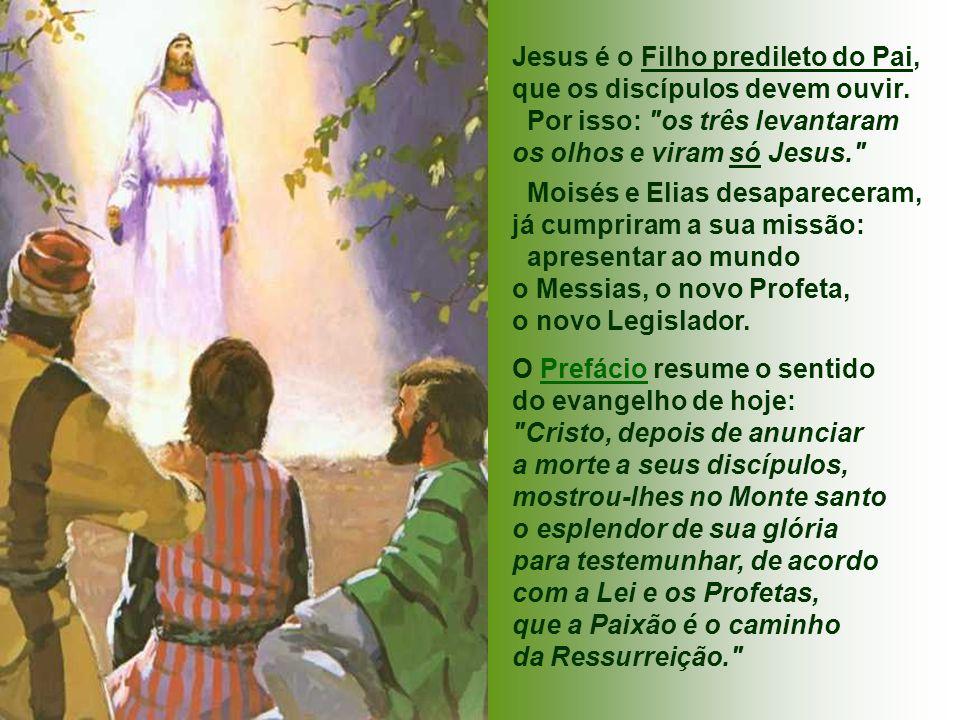 Jesus é o Filho predileto do Pai, que os discípulos devem ouvir.