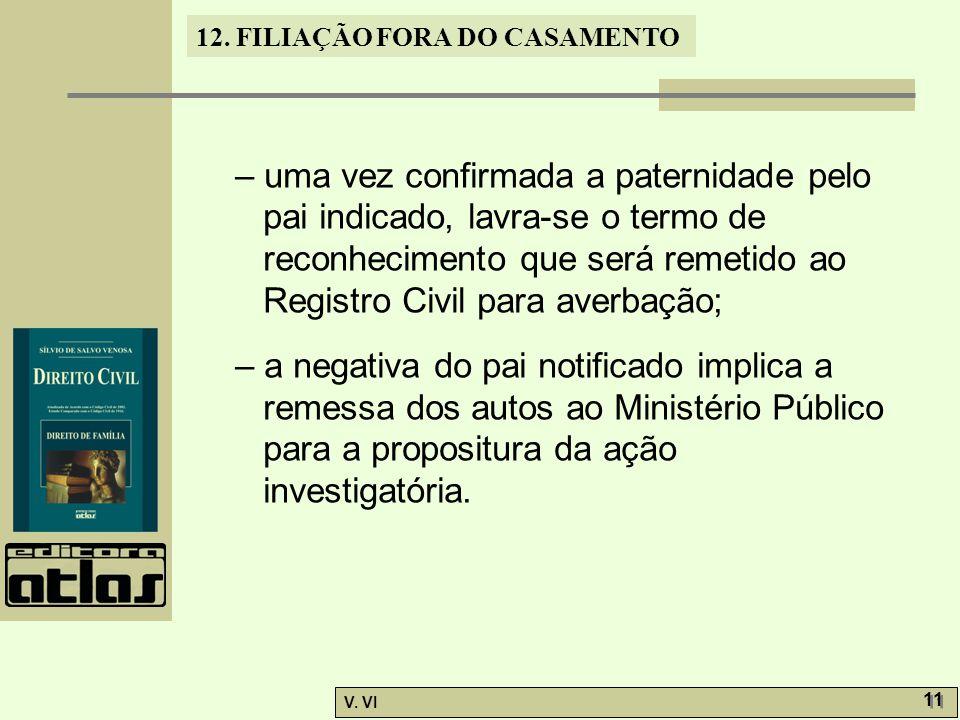 12. FILIAÇÃO FORA DO CASAMENTO V. VI 11 – uma vez confirmada a paternidade pelo pai indicado, lavra-se o termo de reconhecimento que será remetido ao