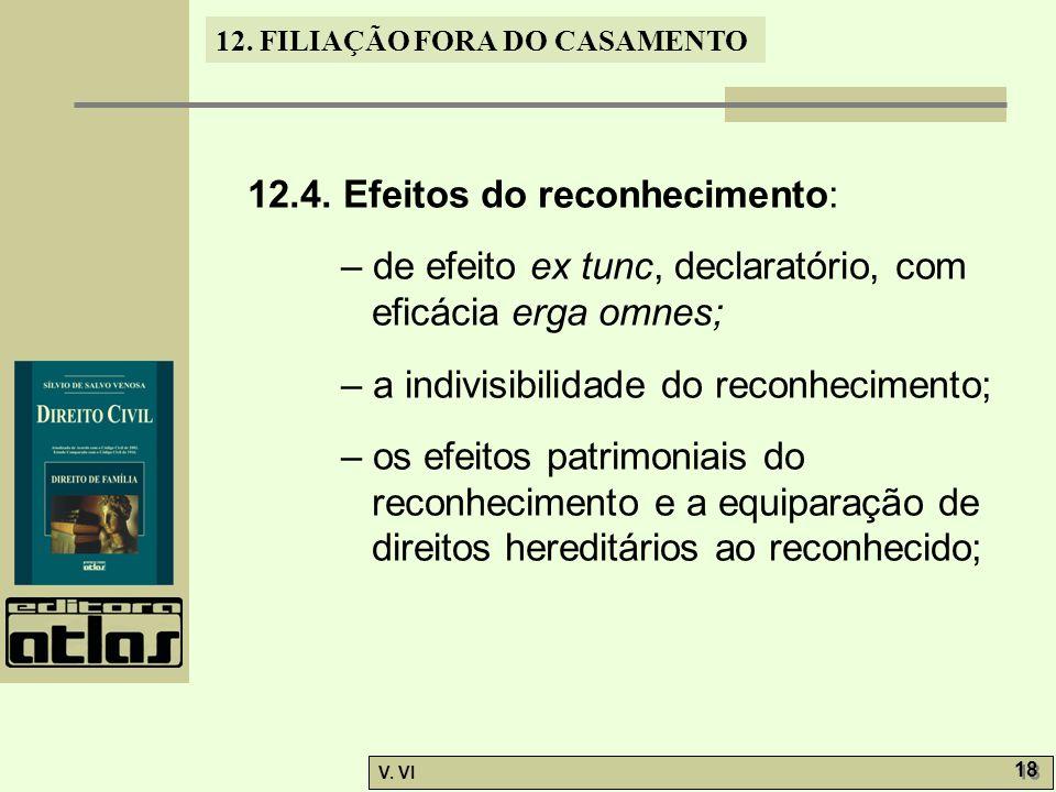 12. FILIAÇÃO FORA DO CASAMENTO V. VI 18 12.4. Efeitos do reconhecimento: – de efeito ex tunc, declaratório, com eficácia erga omnes; – a indivisibilid
