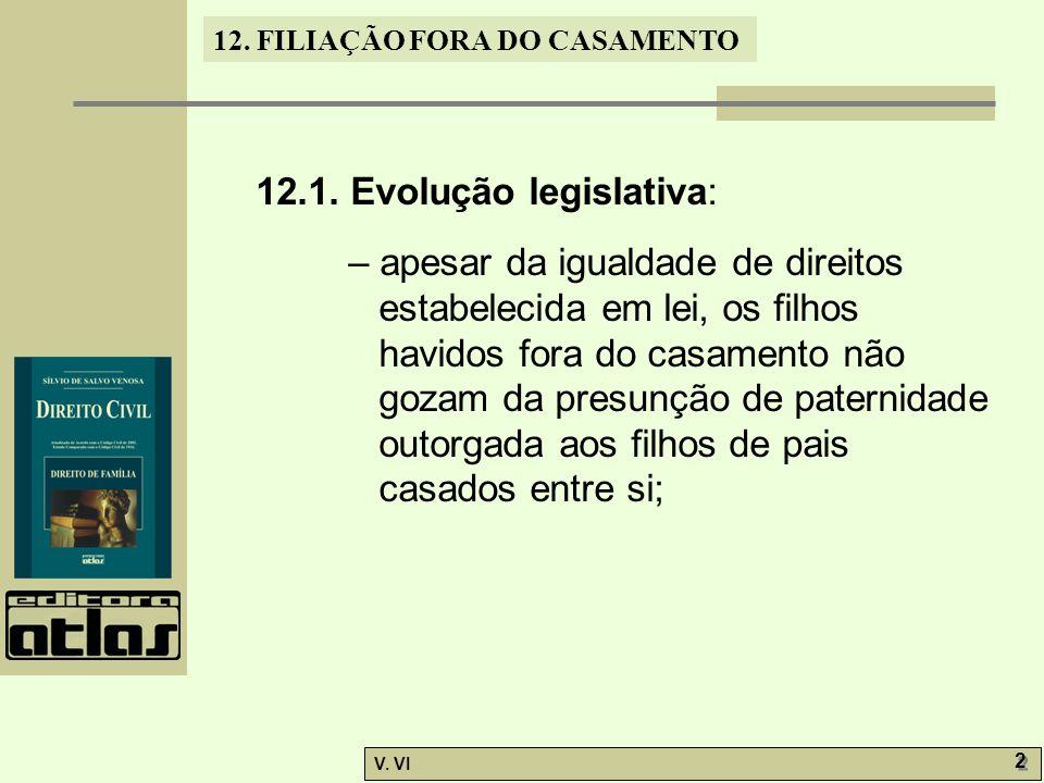 12. FILIAÇÃO FORA DO CASAMENTO V. VI 2 2 12.1. Evolução legislativa: – apesar da igualdade de direitos estabelecida em lei, os filhos havidos fora do