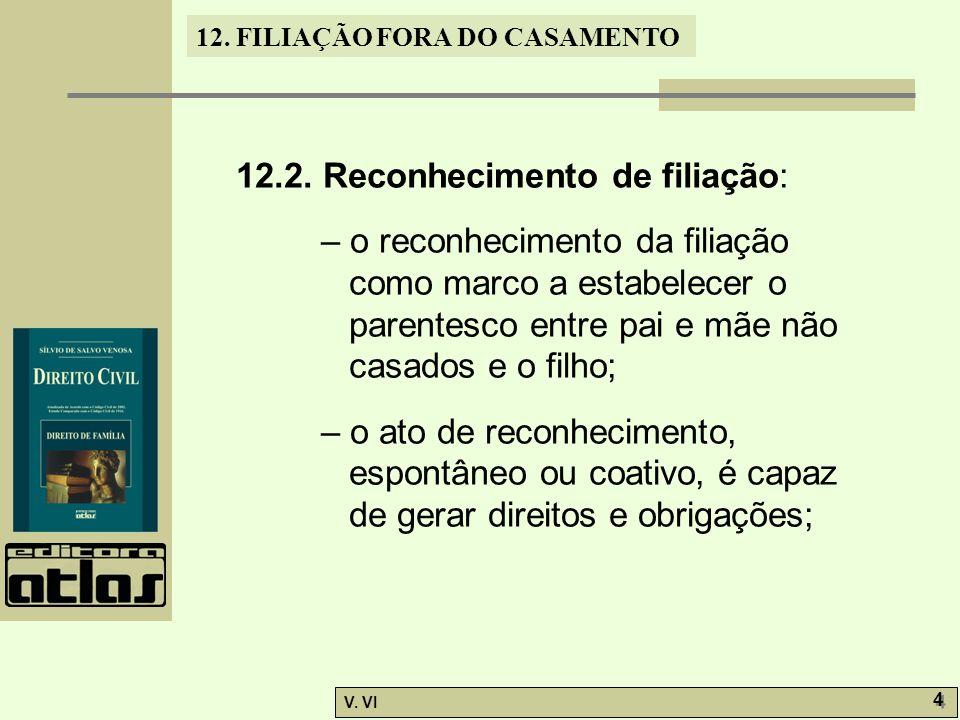 12. FILIAÇÃO FORA DO CASAMENTO V. VI 4 4 12.2. Reconhecimento de filiação: – o reconhecimento da filiação como marco a estabelecer o parentesco entre