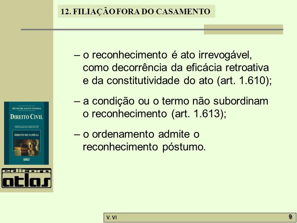 12. FILIAÇÃO FORA DO CASAMENTO V. VI 9 9 – o reconhecimento é ato irrevogável, como decorrência da eficácia retroativa e da constitutividade do ato (a
