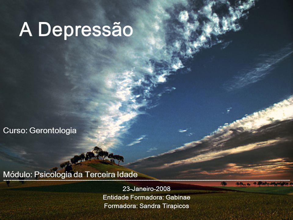 A Depressão --------------------------------------------------------------------------------------------------------------------- 23-Janeiro-2008 Enti