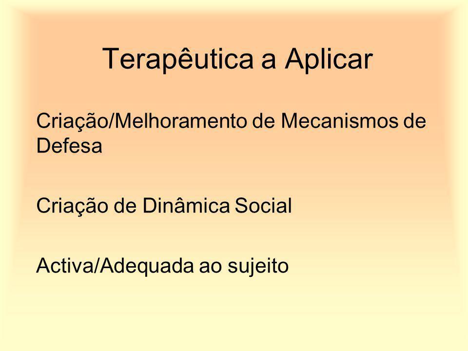Terapêutica a Aplicar Criação/Melhoramento de Mecanismos de Defesa Criação de Dinâmica Social Activa/Adequada ao sujeito