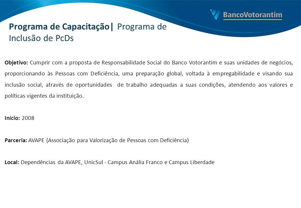 Objetivo: Cumprir com a proposta de Responsabilidade Social do Banco Votorantim e suas unidades de negócios, proporcionando às Pessoas com Deficiência
