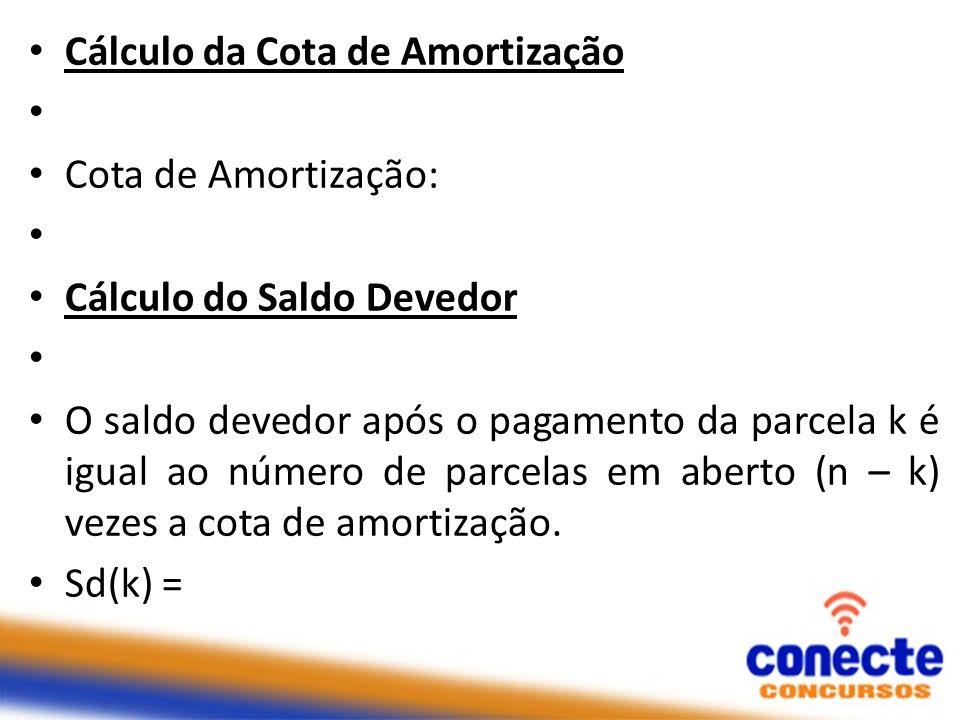Cálculo da Cota de Amortização Cota de Amortização: Cálculo do Saldo Devedor O saldo devedor após o pagamento da parcela k é igual ao número de parcel