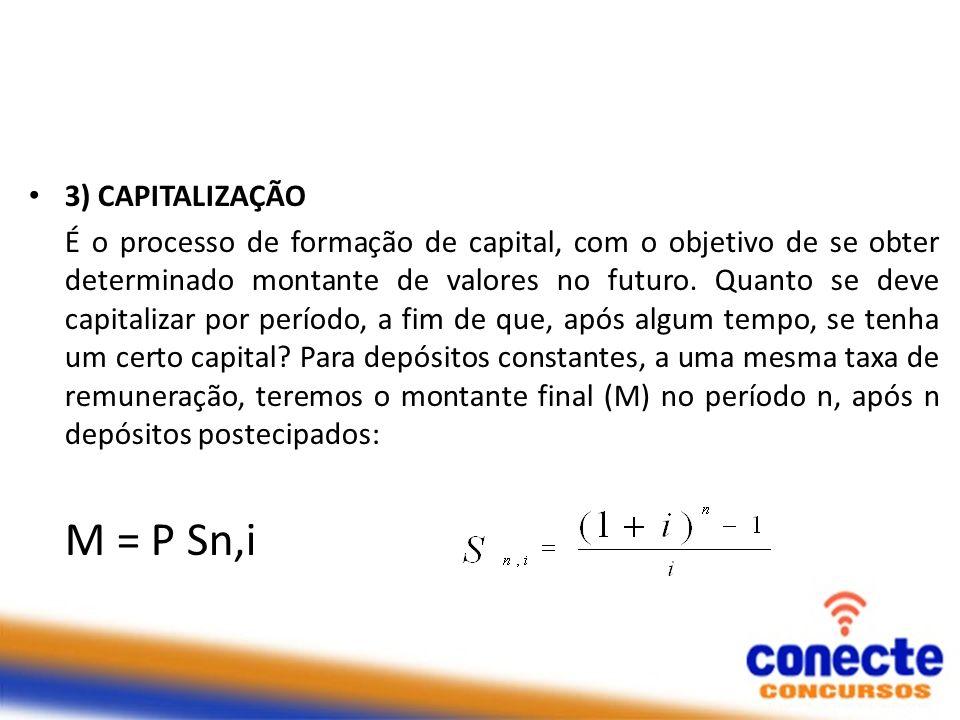 3) CAPITALIZAÇÃO É o processo de formação de capital, com o objetivo de se obter determinado montante de valores no futuro. Quanto se deve capitalizar