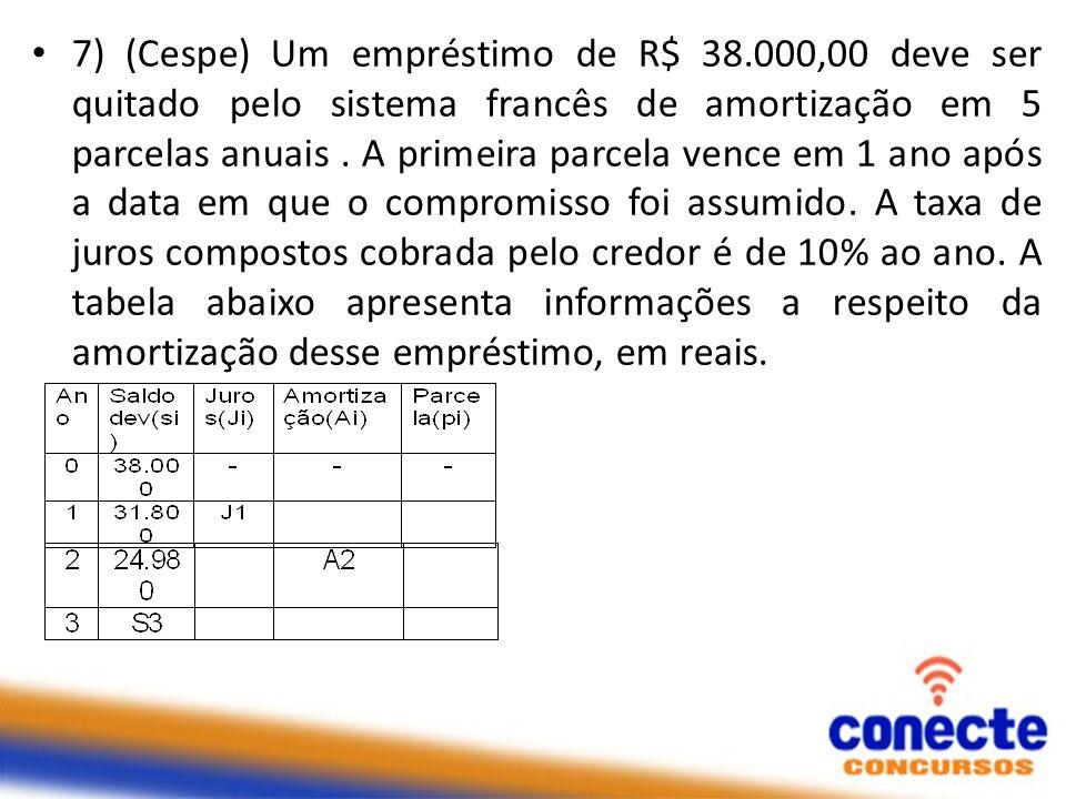 7) (Cespe) Um empréstimo de R$ 38.000,00 deve ser quitado pelo sistema francês de amortização em 5 parcelas anuais. A primeira parcela vence em 1 ano