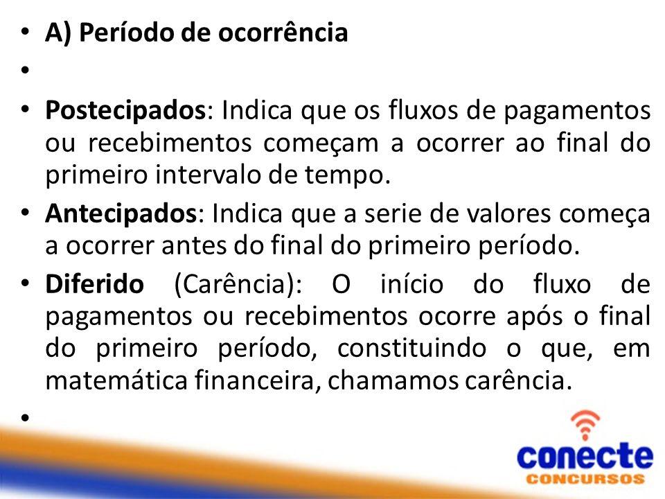 A) Período de ocorrência Postecipados: Indica que os fluxos de pagamentos ou recebimentos começam a ocorrer ao final do primeiro intervalo de tempo. A