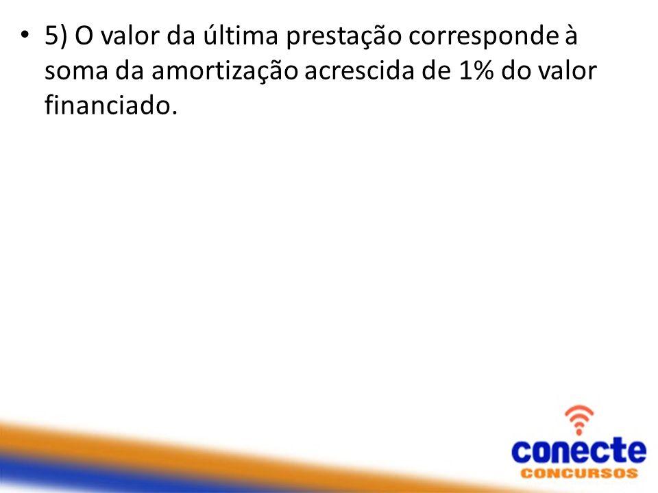 5) O valor da última prestação corresponde à soma da amortização acrescida de 1% do valor financiado.