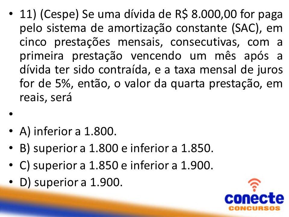 11) (Cespe) Se uma dívida de R$ 8.000,00 for paga pelo sistema de amortização constante (SAC), em cinco prestações mensais, consecutivas, com a primei