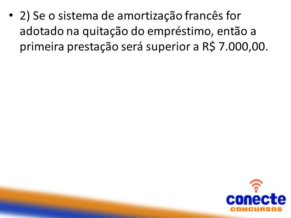 2) Se o sistema de amortização francês for adotado na quitação do empréstimo, então a primeira prestação será superior a R$ 7.000,00.