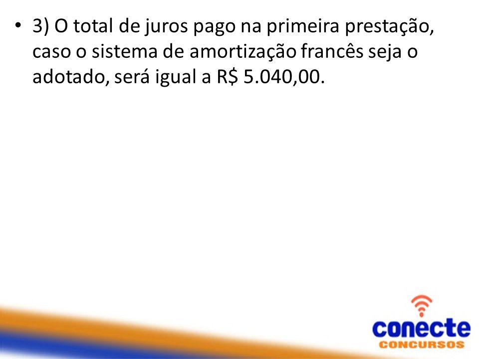 3) O total de juros pago na primeira prestação, caso o sistema de amortização francês seja o adotado, será igual a R$ 5.040,00.