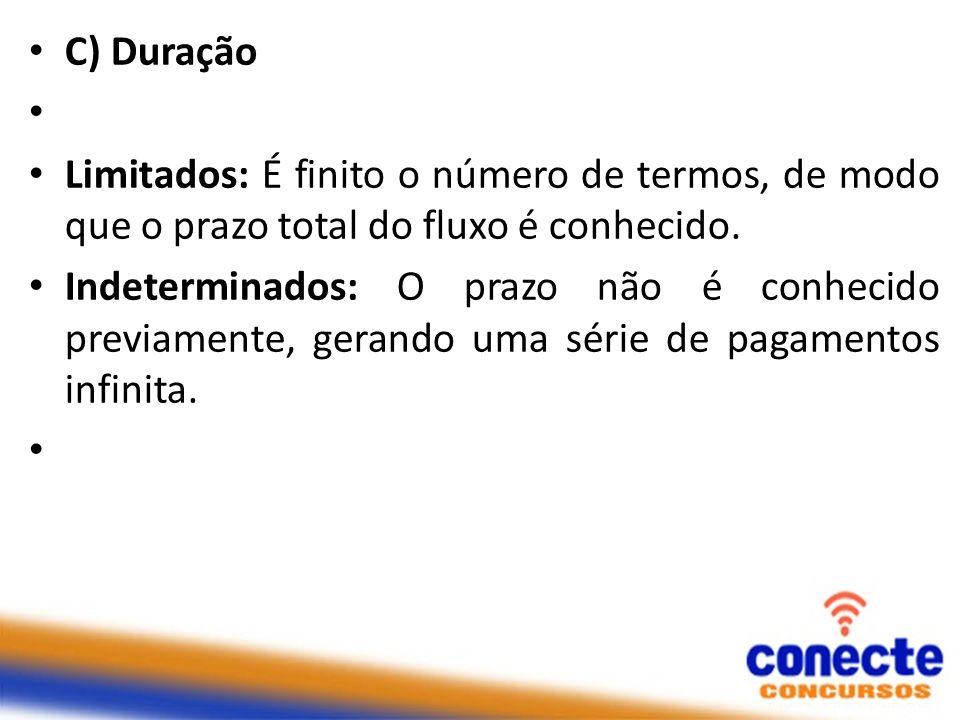 C) Duração Limitados: É finito o número de termos, de modo que o prazo total do fluxo é conhecido. Indeterminados: O prazo não é conhecido previamente