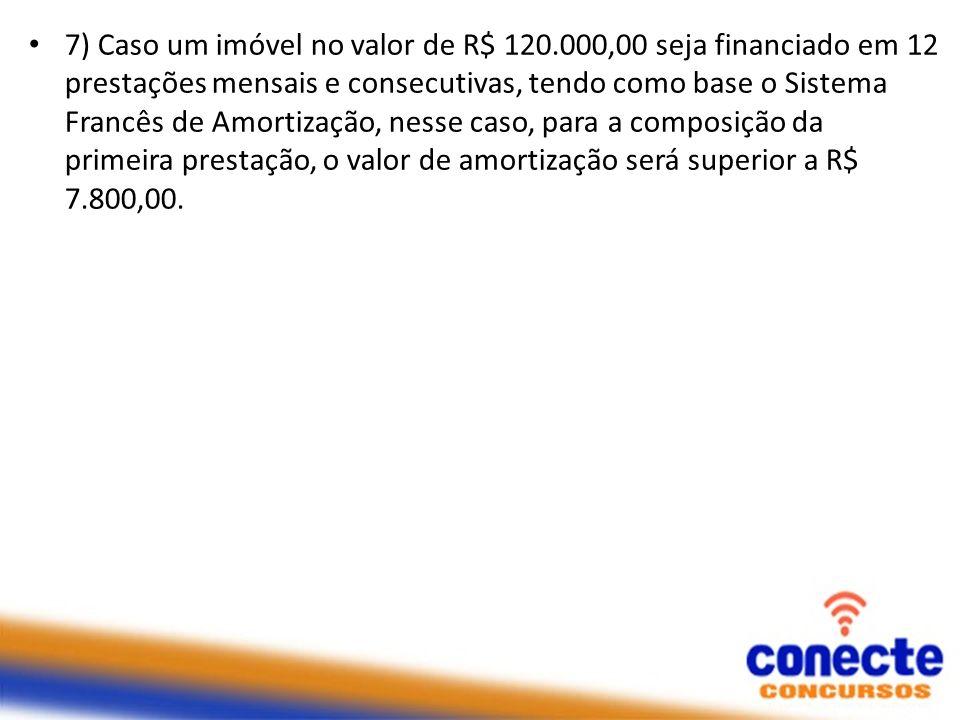 7) Caso um imóvel no valor de R$ 120.000,00 seja financiado em 12 prestações mensais e consecutivas, tendo como base o Sistema Francês de Amortização,