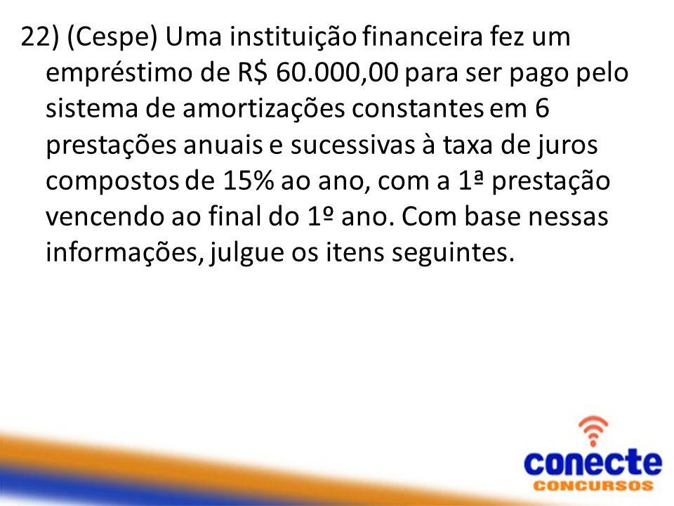 22) (Cespe) Uma instituição financeira fez um empréstimo de R$ 60.000,00 para ser pago pelo sistema de amortizações constantes em 6 prestações anuais