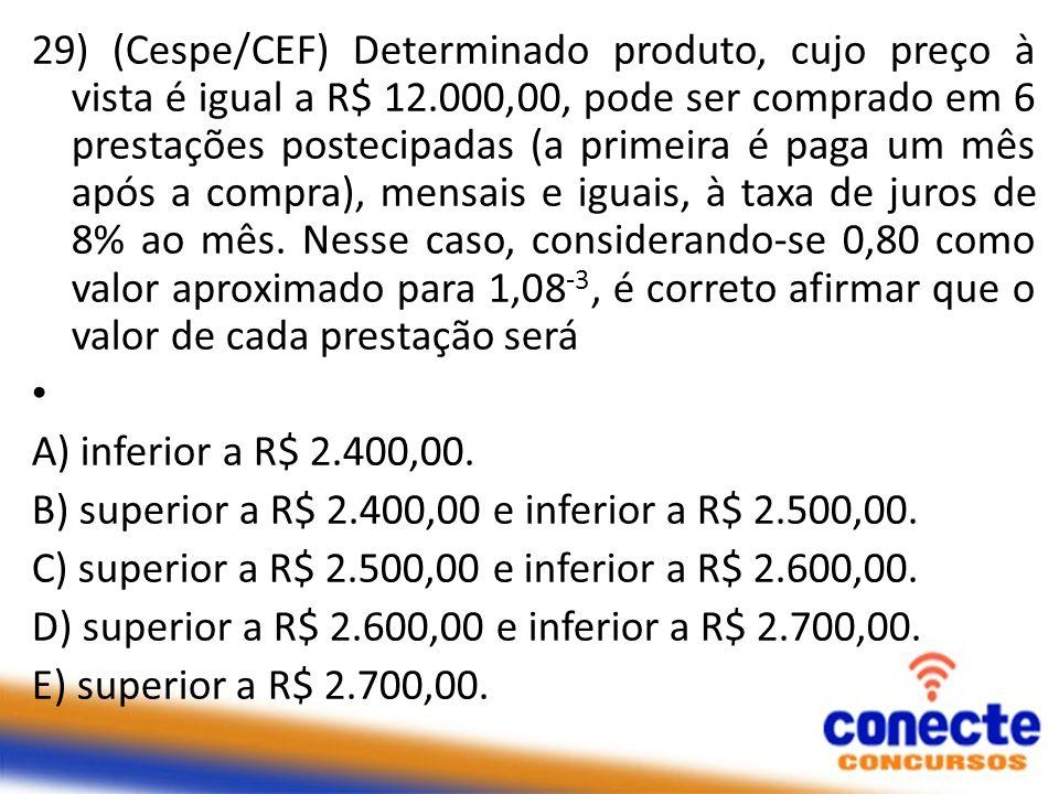 29) (Cespe/CEF) Determinado produto, cujo preço à vista é igual a R$ 12.000,00, pode ser comprado em 6 prestações postecipadas (a primeira é paga um m