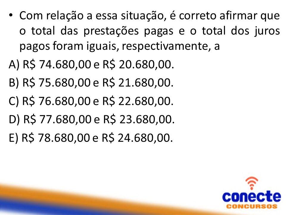 Com relação a essa situação, é correto afirmar que o total das prestações pagas e o total dos juros pagos foram iguais, respectivamente, a A) R$ 74.68