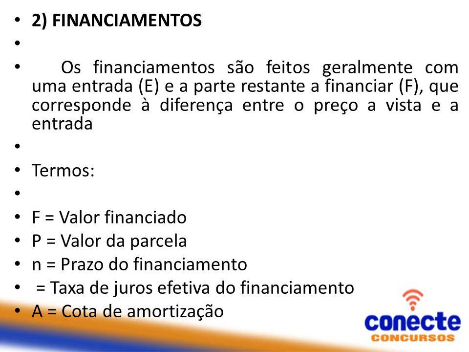 2) FINANCIAMENTOS Os financiamentos são feitos geralmente com uma entrada (E) e a parte restante a financiar (F), que corresponde à diferença entre o