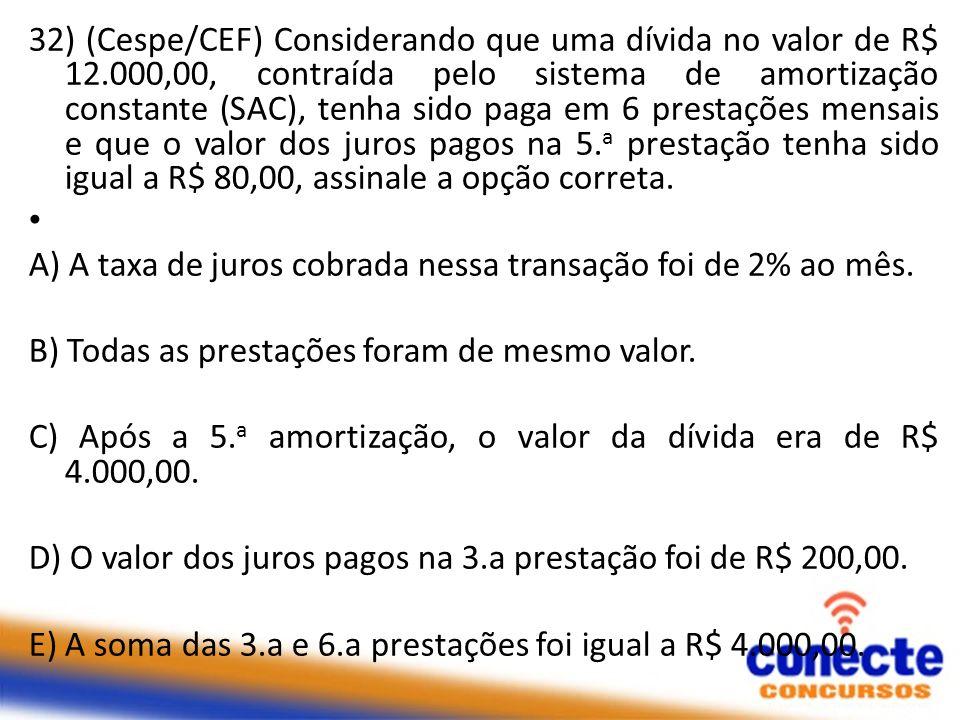 32) (Cespe/CEF) Considerando que uma dívida no valor de R$ 12.000,00, contraída pelo sistema de amortização constante (SAC), tenha sido paga em 6 pres