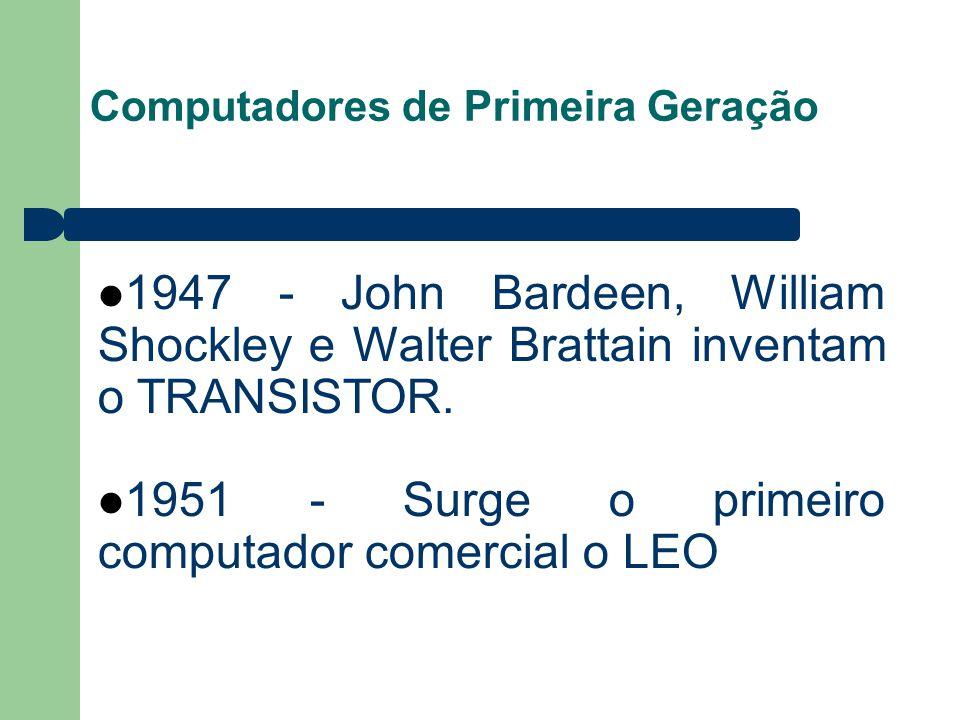 Computadores de Primeira Geração 1947 - John Bardeen, William Shockley e Walter Brattain inventam o TRANSISTOR. 1951 - Surge o primeiro computador com