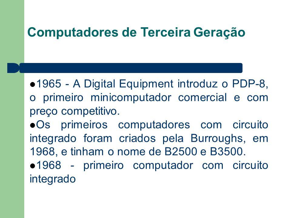 Computadores de Terceira Geração 1965 - A Digital Equipment introduz o PDP-8, o primeiro minicomputador comercial e com preço competitivo. Os primeiro