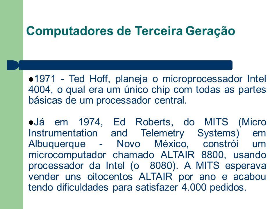 Computadores de Terceira Geração 1971 - Ted Hoff, planeja o microprocessador Intel 4004, o qual era um único chip com todas as partes básicas de um processador central.