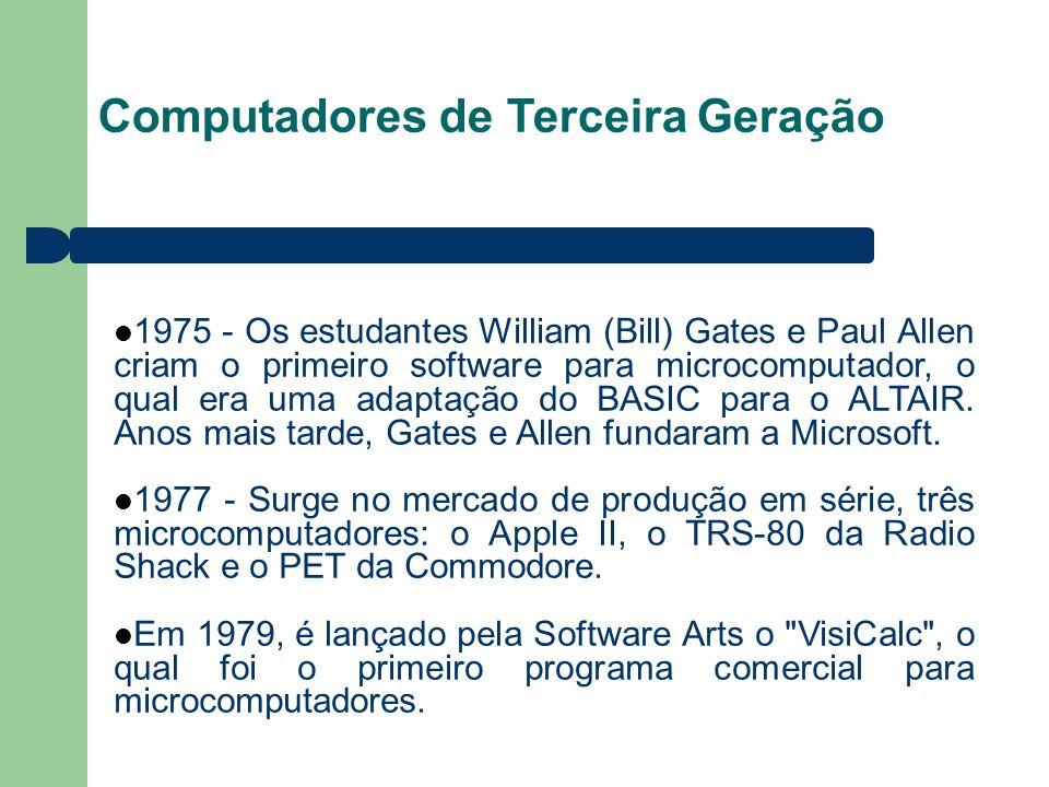 Computadores de Terceira Geração 1975 - Os estudantes William (Bill) Gates e Paul Allen criam o primeiro software para microcomputador, o qual era uma