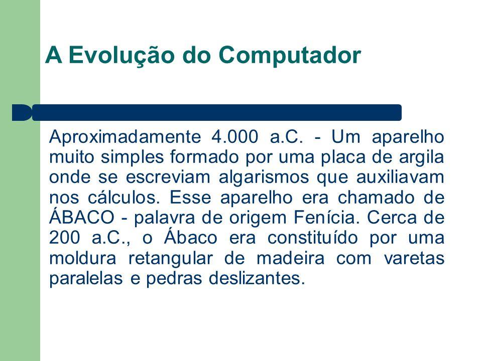 A Evolução do Computador Aproximadamente 4.000 a.C. - Um aparelho muito simples formado por uma placa de argila onde se escreviam algarismos que auxil