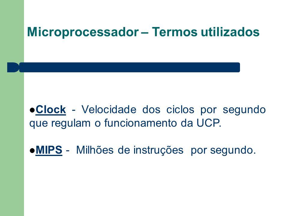 Microprocessador – Termos utilizados Clock - Velocidade dos ciclos por segundo que regulam o funcionamento da UCP. MIPS - Milhões de instruções por se