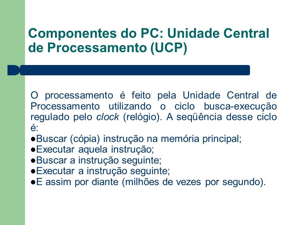 Componentes do PC: Unidade Central de Processamento (UCP) O processamento é feito pela Unidade Central de Processamento utilizando o ciclo busca-execu