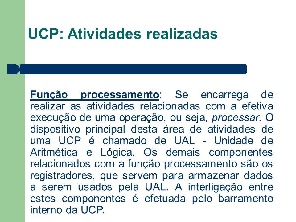UCP: Atividades realizadas Função processamento: Se encarrega de realizar as atividades relacionadas com a efetiva execução de uma operação, ou seja, processar.