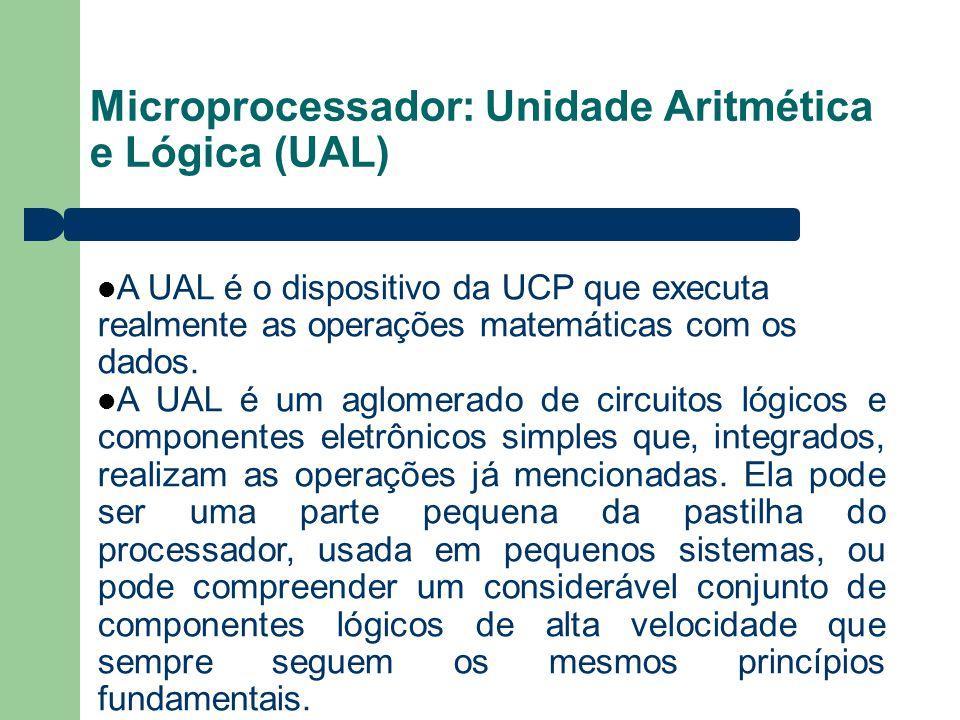 Microprocessador: Unidade Aritmética e Lógica (UAL) A UAL é o dispositivo da UCP que executa realmente as operações matemáticas com os dados. A UAL é