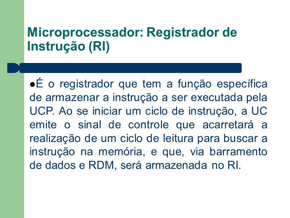 Microprocessador: Registrador de Instrução (RI) É o registrador que tem a função específica de armazenar a instrução a ser executada pela UCP. Ao se i