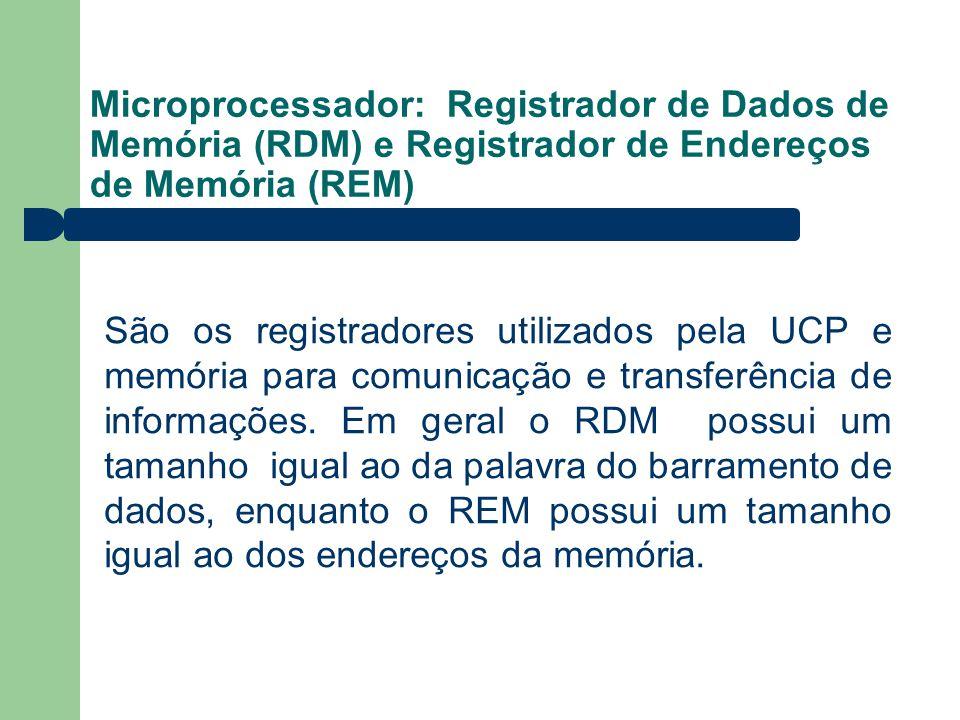 Microprocessador: Registrador de Dados de Memória (RDM) e Registrador de Endereços de Memória (REM) São os registradores utilizados pela UCP e memória