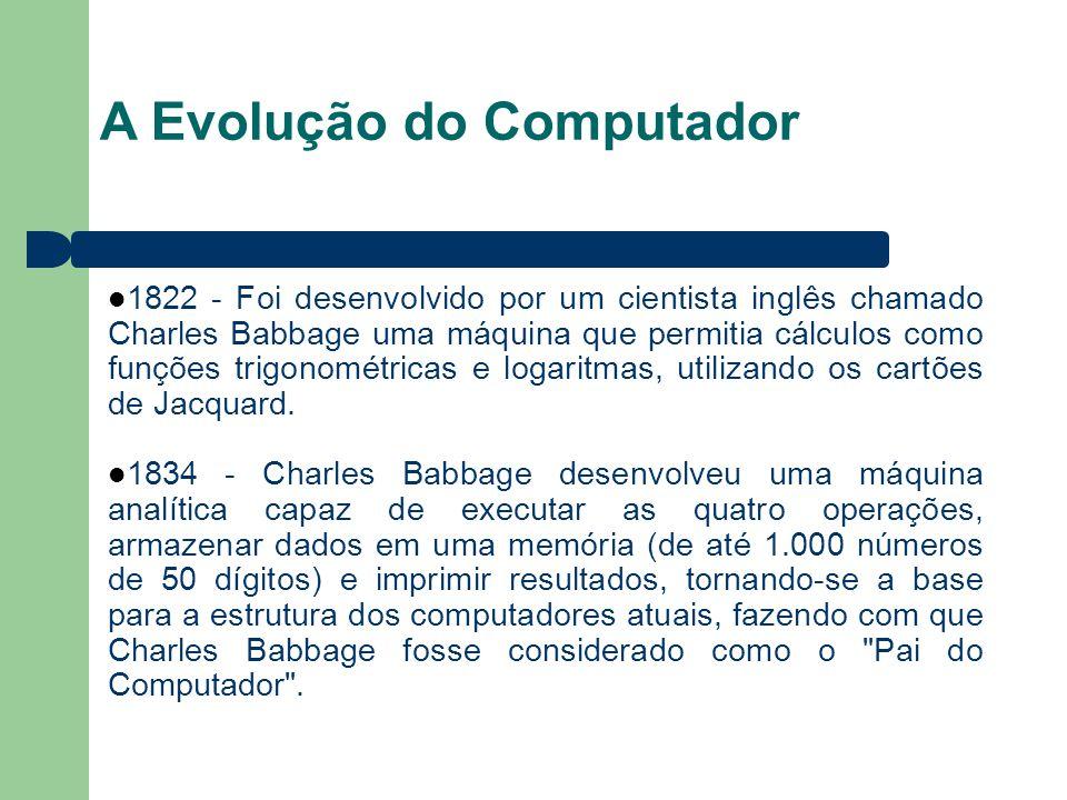 A Evolução do Computador 1822 - Foi desenvolvido por um cientista inglês chamado Charles Babbage uma máquina que permitia cálculos como funções trigonométricas e logaritmas, utilizando os cartões de Jacquard.