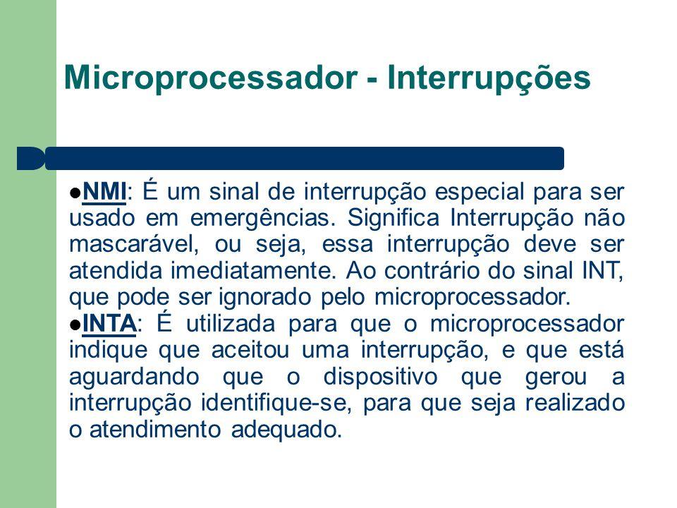 Microprocessador - Interrupções NMI: É um sinal de interrupção especial para ser usado em emergências. Significa Interrupção não mascarável, ou seja,