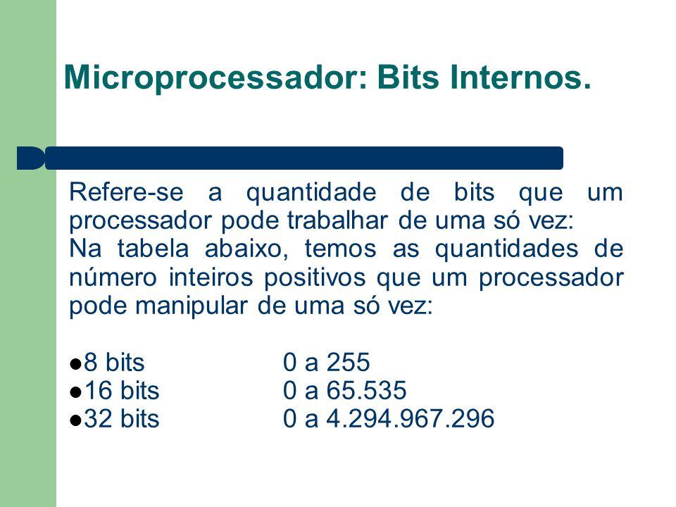 Microprocessador: Bits Internos. Refere-se a quantidade de bits que um processador pode trabalhar de uma só vez: Na tabela abaixo, temos as quantidade