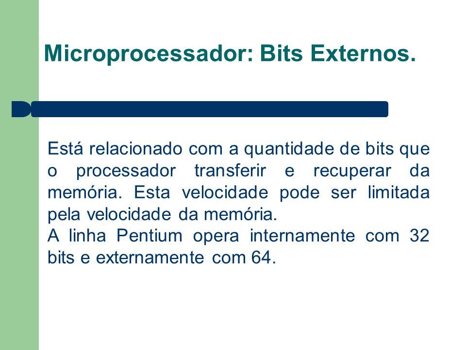Microprocessador: Bits Externos. Está relacionado com a quantidade de bits que o processador transferir e recuperar da memória. Esta velocidade pode s