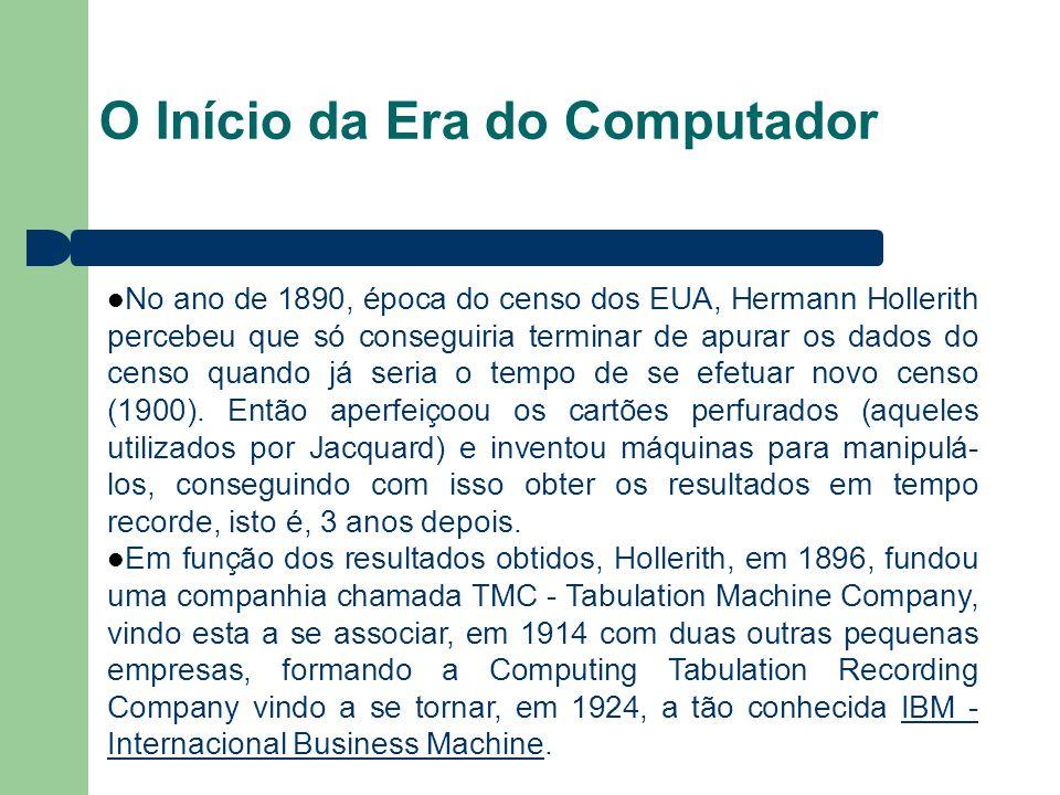 O Início da Era do Computador No ano de 1890, época do censo dos EUA, Hermann Hollerith percebeu que só conseguiria terminar de apurar os dados do cen
