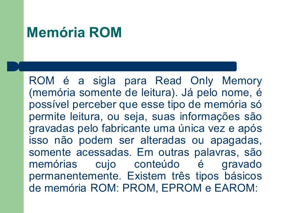 Memória ROM ROM é a sigla para Read Only Memory (memória somente de leitura). Já pelo nome, é possível perceber que esse tipo de memória só permite le