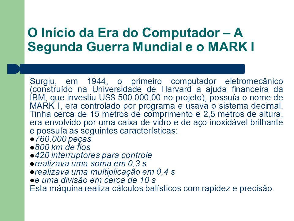O Início da Era do Computador – A Segunda Guerra Mundial e o MARK I Surgiu, em 1944, o primeiro computador eletromecânico (construído na Universidade