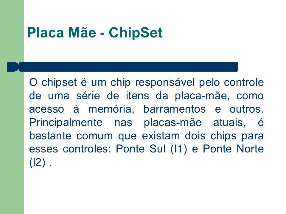 Placa Mãe - ChipSet O chipset é um chip responsável pelo controle de uma série de itens da placa-mãe, como acesso à memória, barramentos e outros. Pri
