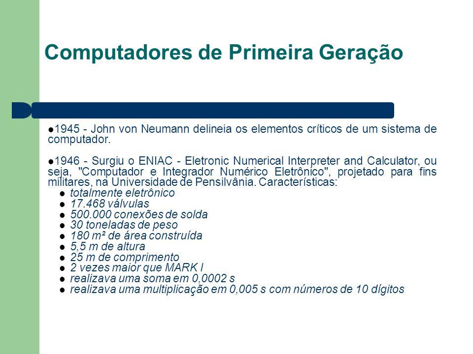 Computadores de Primeira Geração 1945 - John von Neumann delineia os elementos críticos de um sistema de computador. 1946 - Surgiu o ENIAC - Eletronic