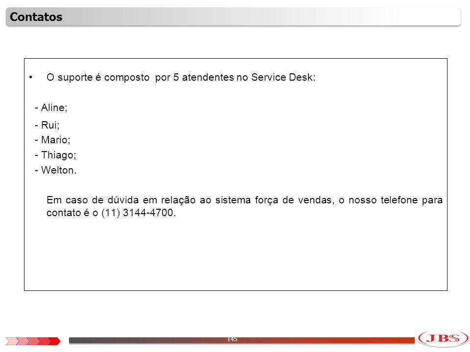 145 O suporte é composto por 5 atendentes no Service Desk: - Aline; - Rui; - Mario; - Thiago; - Welton. Em caso de dúvida em relação ao sistema força