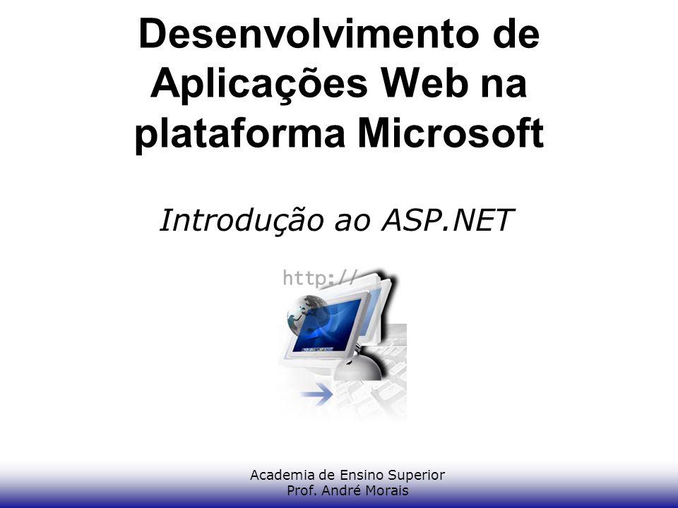 Academia de Ensino Superior Prof. André Morais Desenvolvimento de Aplicações Web na plataforma Microsoft Introdução ao ASP.NET