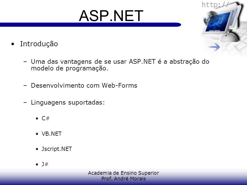 Academia de Ensino Superior Prof. André Morais ASP.NET Introdução –Uma das vantagens de se usar ASP.NET é a abstração do modelo de programação. –Desen