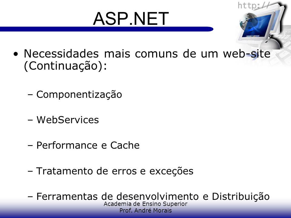 Academia de Ensino Superior Prof. André Morais ASP.NET Necessidades mais comuns de um web-site (Continuação): –Componentização –WebServices –Performan