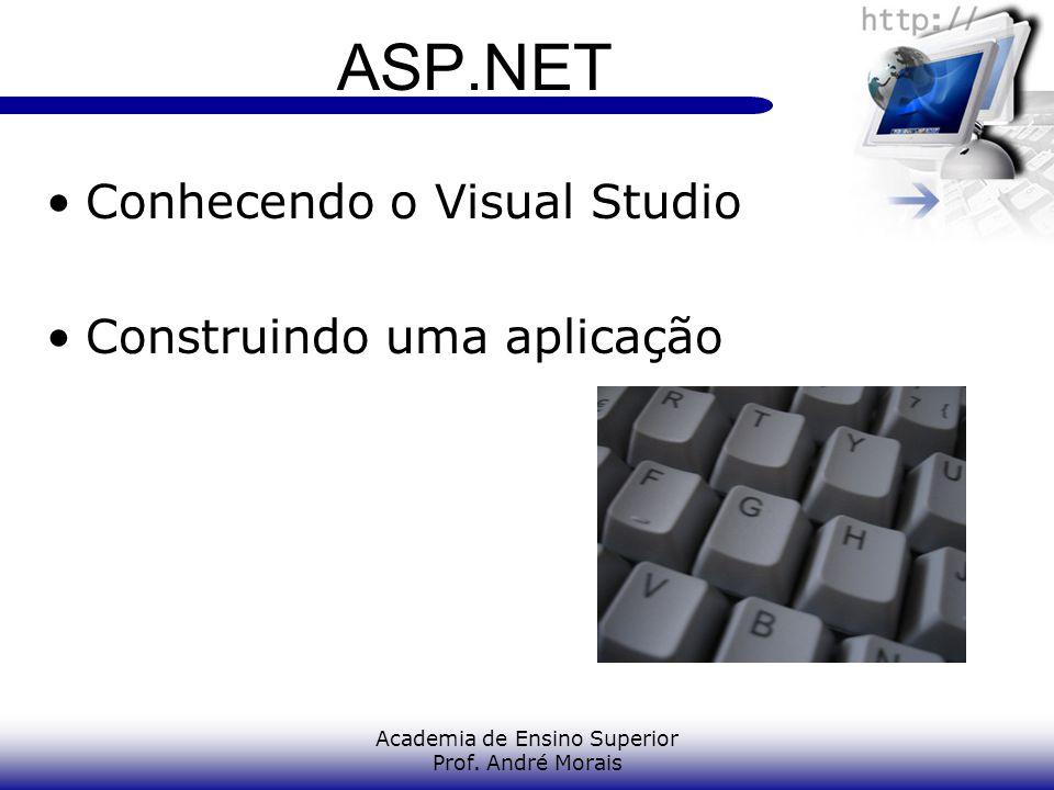 Academia de Ensino Superior Prof. André Morais ASP.NET Conhecendo o Visual Studio Construindo uma aplicação