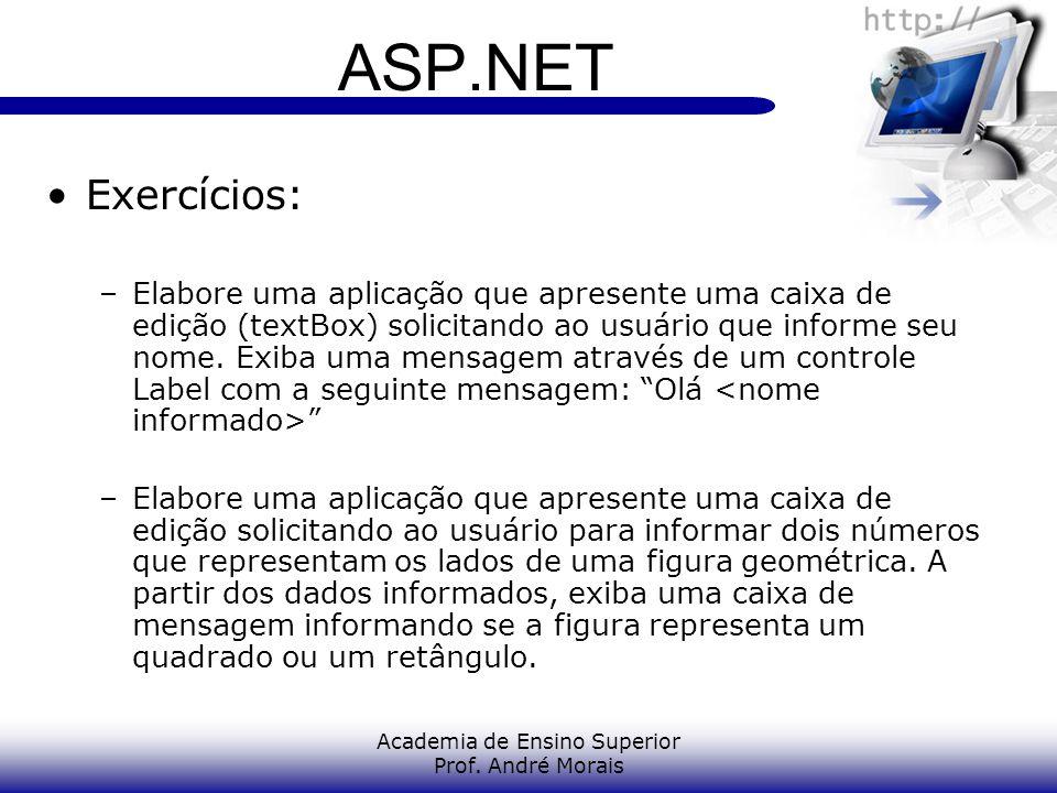 Academia de Ensino Superior Prof. André Morais ASP.NET Exercícios: –Elabore uma aplicação que apresente uma caixa de edição (textBox) solicitando ao u